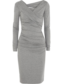 Ericdress Plain Pleated V-Neck Long Sleeve Sheath Dress