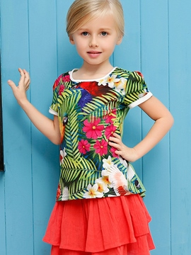 Ericdress Patchwork Plant Printed Girls Tops