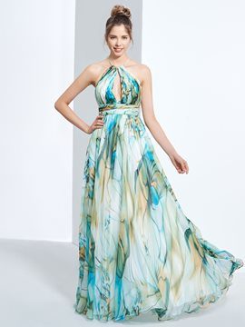 Ericdress A-Line Halter Printed Ruched Long Prom Dress