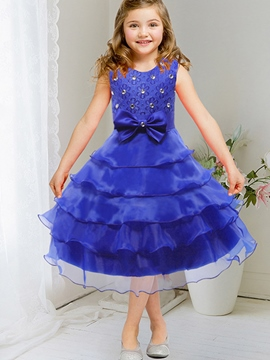 Ericdress Diamond Layered Dress Bow Appliques Girls Dress