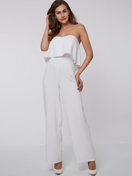 Ericdress Solid Color Frill Jumpsuits Pants