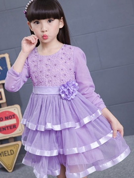 Ericdress Layered Dress Bead Mesh Belt Girls Dress