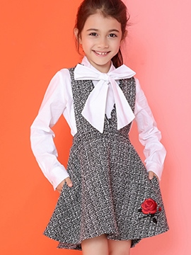 Ericdress Large V Collar Embroidery Suspender Falbala Girls Dress