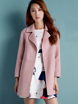 Ericdress Solid Color Loose Polo Simple Coat