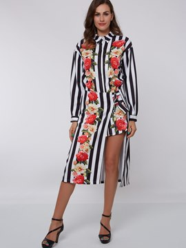 Ericdress Stripe Floral Print Dress Suit