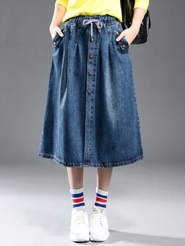 Ericdress Simple Denim Usual Skirt