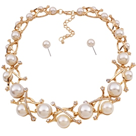 Ericdress White Pearl Alloy Jewelry Set