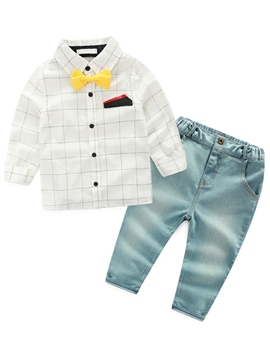 Ericdress European Plaid Bowknot Shirt & Denim Pants 2-Pcs Boys Suit