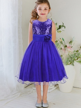 Ericdress Sequins Embroidery Lace-Up Falbala Lap Girls Dress