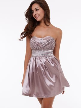 Ericdress a-ligne Sweetheart perles drapé plissé court Homecoming robe