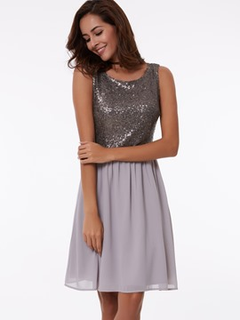 Ericdress a-line rond Sequins mi-longues Homecoming robe