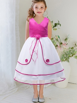 Ericdress Laminated Asymmetry Contrast-Trim Appliques Girls Dress