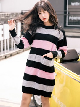 Ericdress Color Block Straight Long Sleeve Sweater Dress