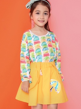 Ericdress Colored Printing Elastic Cuff Mesh Patchwork Girls Tops