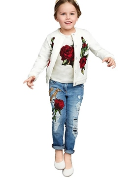 Ericdress Floral Jacquard Sequins Embroidery Frayed Destroy Three-Piece Girls Outfits