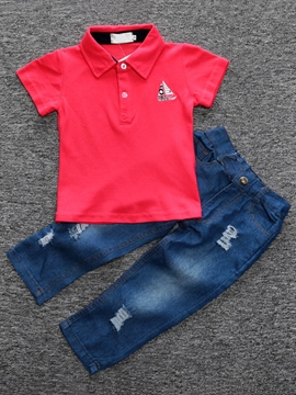 Ericdress Lapel Plain Shirt & Denim Pants European Boys Suit
