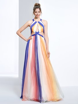 Ericdress A-Line Halter Draped Printed Ruched Floor-Length Prom Dress