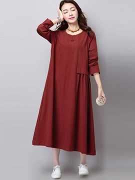 Ericdress Autumn Ethic Long Sleeve Loose Maxi Dress