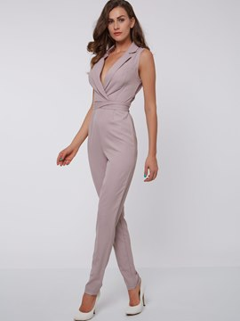 Ericdress Unique Notched Lapel Jumpsuits Pants