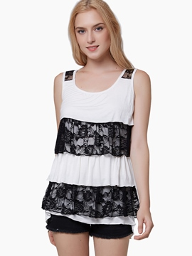 Ericdress Pelplum Lace Patchwork Women Vest
