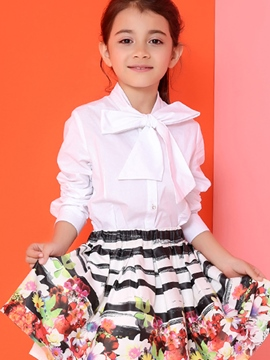 Ericdress Bowknot Collar Solid Color Diamond Button Girls Tops