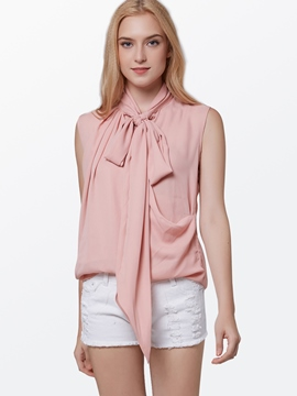 Ericdress Pink Pleated Sleeveless Blouse