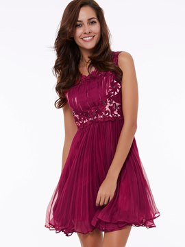 Ericdress a-ligne Scoop perles dentelle court Homecoming robe