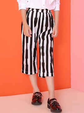 Ericdress Seven Length White&Black Strips Belt Girls Bottoms