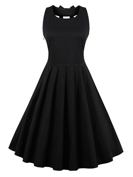 Ericdress Plain Hollow Little Black Dress