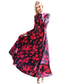 Ericdress Flower Print Long Sleeve Maxi Dress