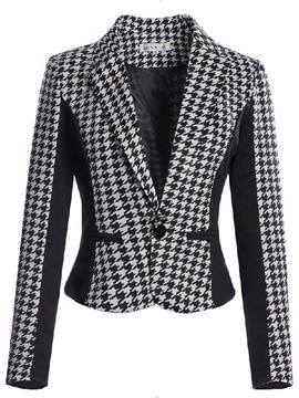 Blazer de pata de gallo Color Ericdress bloque