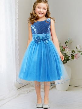 Ericdress Sequin Embroidery Bow Tie Appliques Mesh Girls Dress