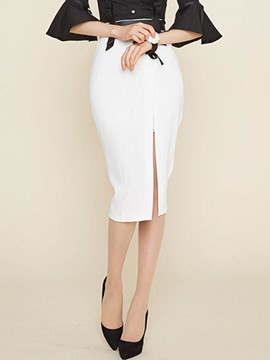 Ericdress Unique Solid Color Split Skirt