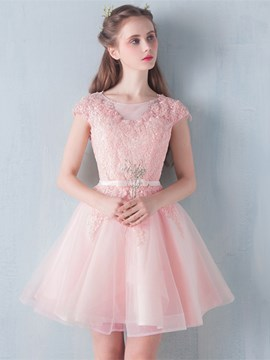 Ericdress a-line Scoop Cap Sleeves Bowknot Schärpen Homecoming Spitzenkleid