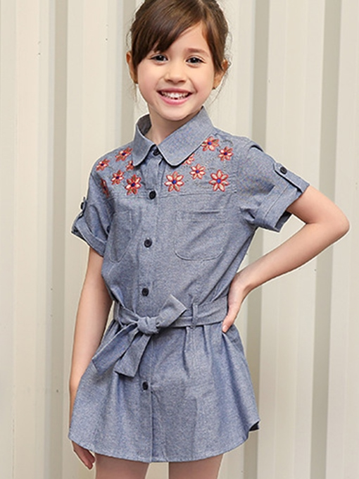 Ericdress Embroidery Flanging Lace-Up Girls Dress