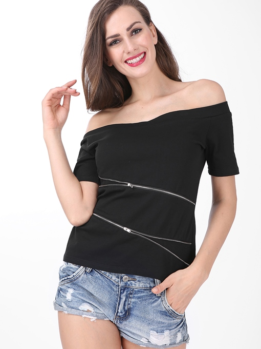 Ericdress Off-Shoulder Zipper T-Shirt