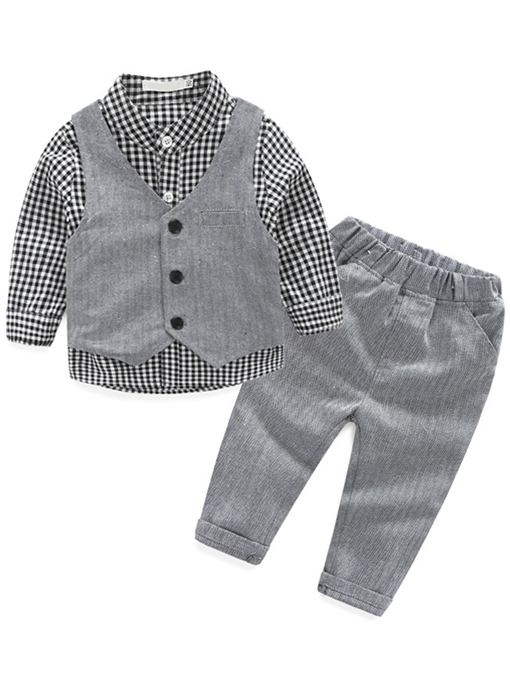 Ericdress Lattice Lapel Collar Vest Pure Three-Piece Boys Outfits