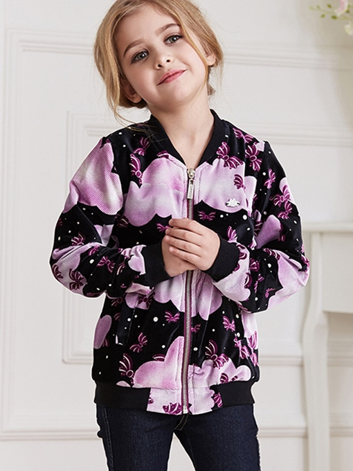 Ericdress Floral Printed Corduroy Thread Collar Girls Outerwears