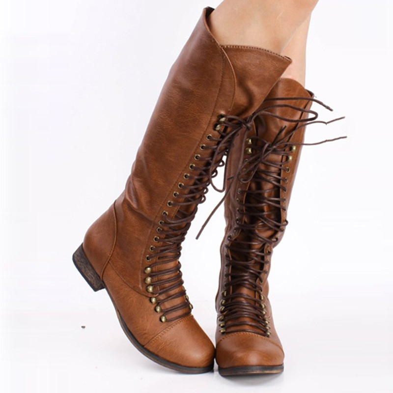 Ericdress_LaceUp_Front_Round_Toe_Block_Heel_Womens_Knee_High_Boots