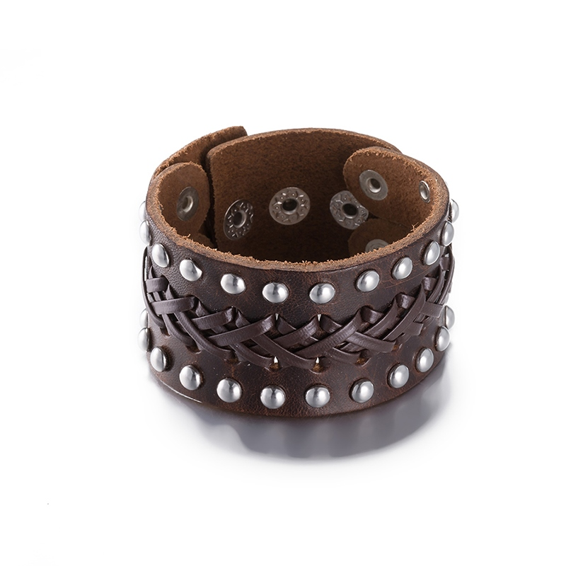 Ericdress Rivets Decorated Leather Mens Bracelet
