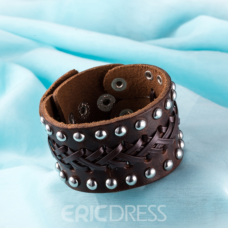 Ericdress Rivets Decorated Leather Men's Bracelet