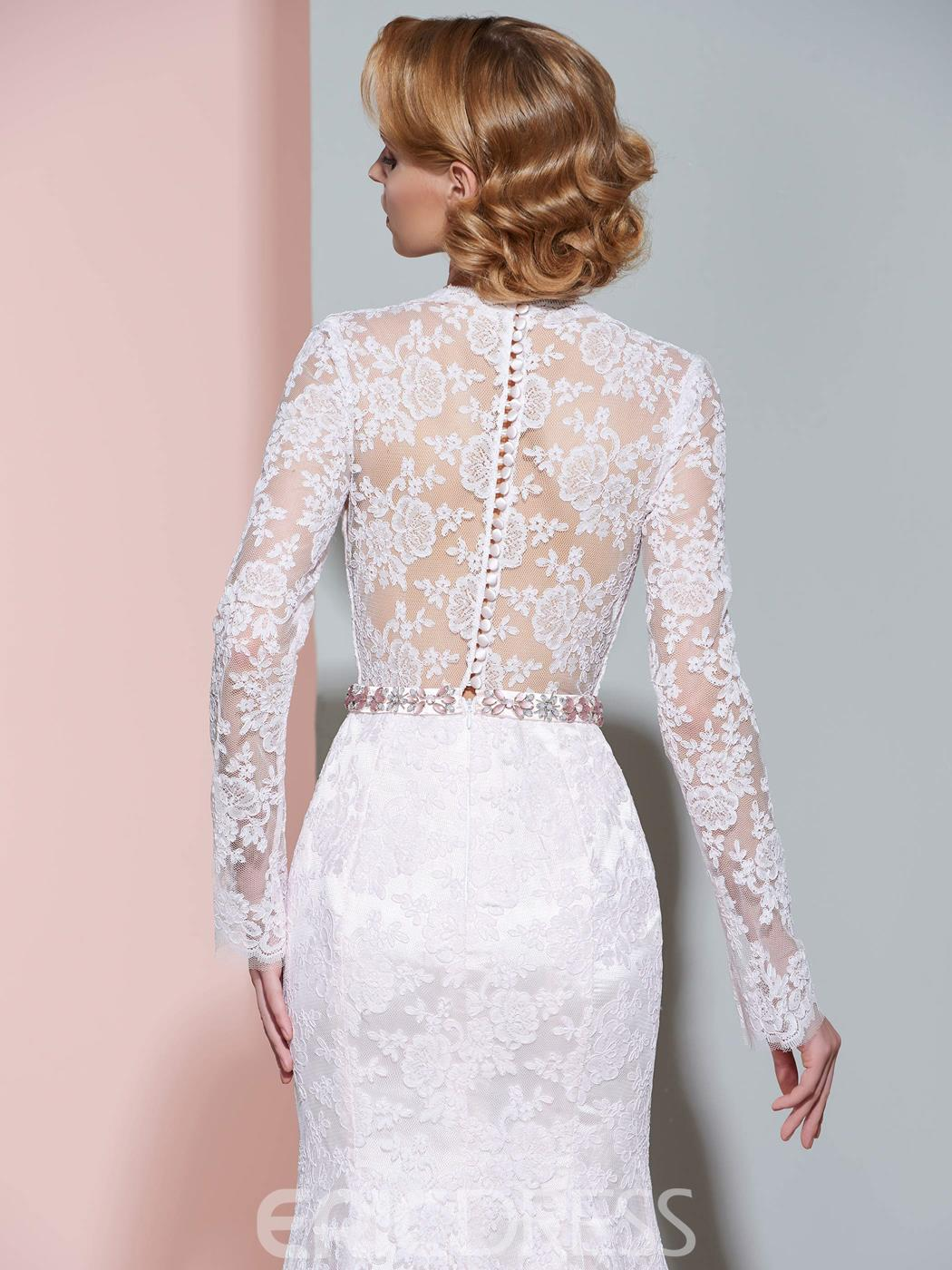 Ericdress V Neck Long Sleeves Mermaid Lace Wedding Dress