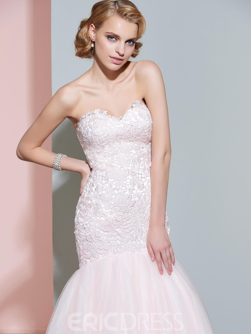 Ericdress Beautiful Sweetheart Mermaid Lace Color Wedding Dress