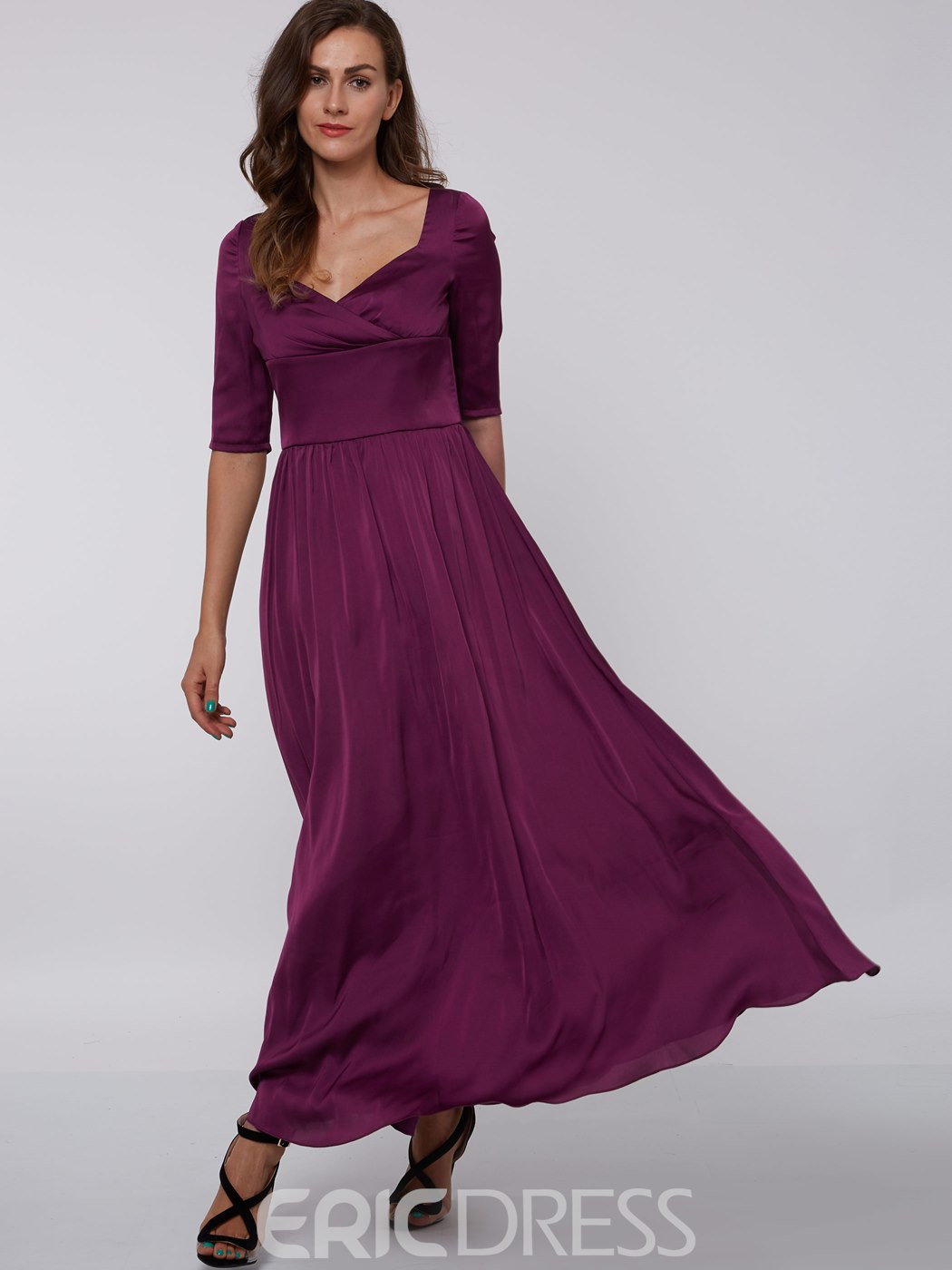 Ericdress A-Line Half Sleeves Square Draped Ankle-Length Evening Dress