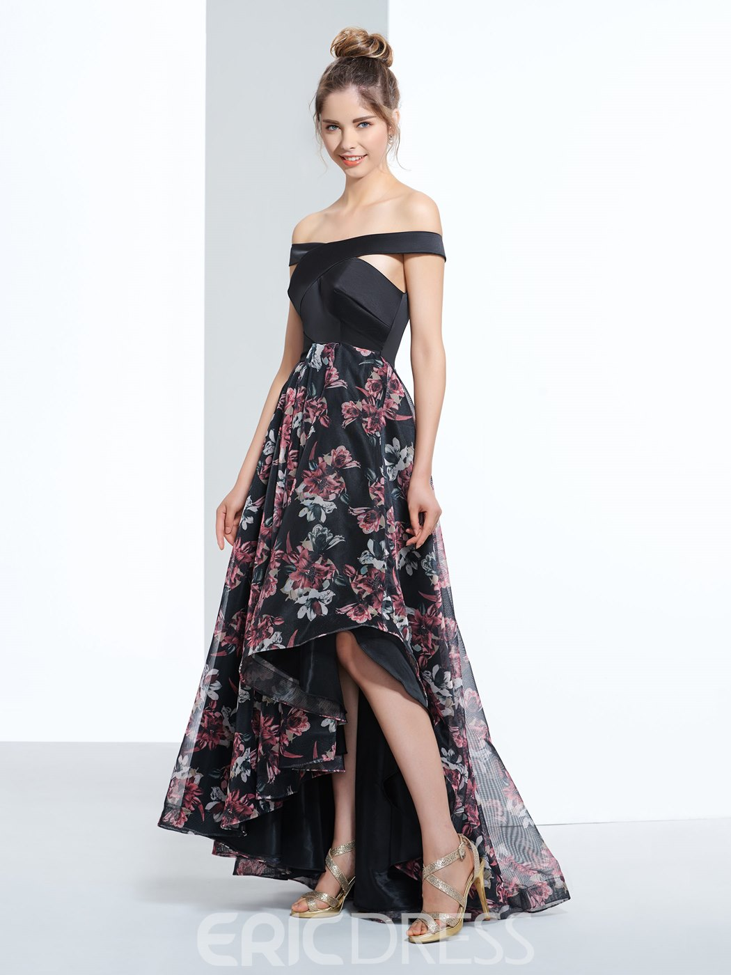 Ericdress a-ligne Off-the-Shoulder mancherons imprimé robe de bal