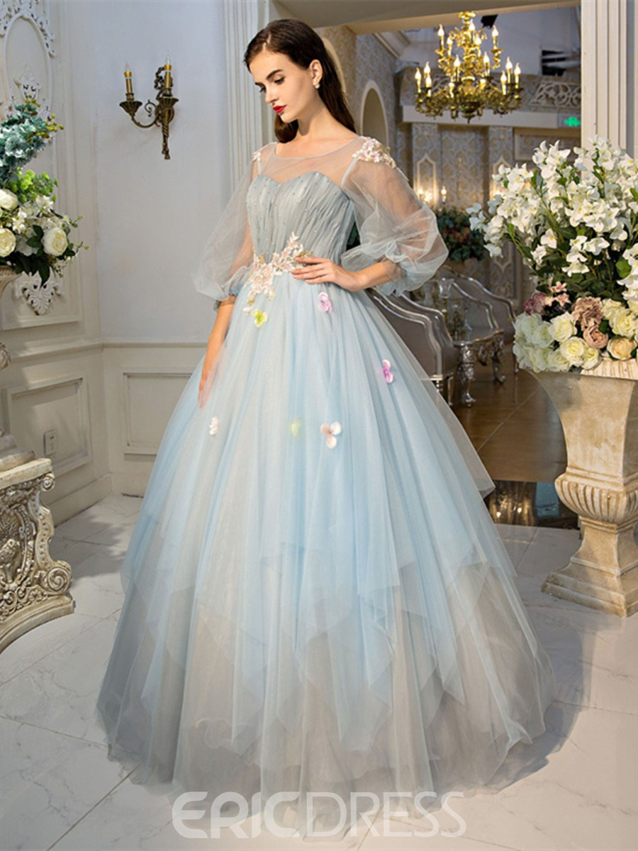 Ericdress Scoop Ball Gown Long Sleeves Pearls Pleats Court Train ...