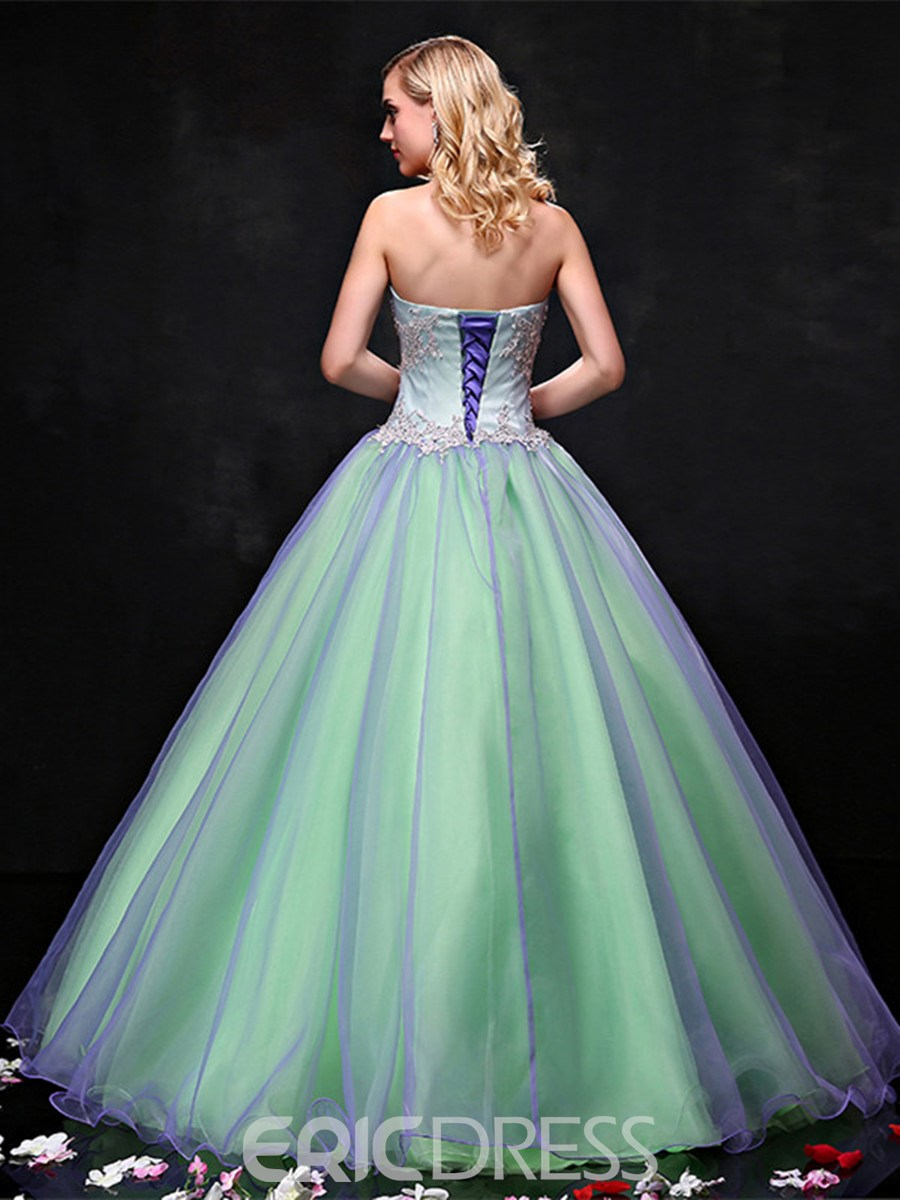 Ericdress Strapless Ball Gown Appliques Pearls Quinceanera Dress