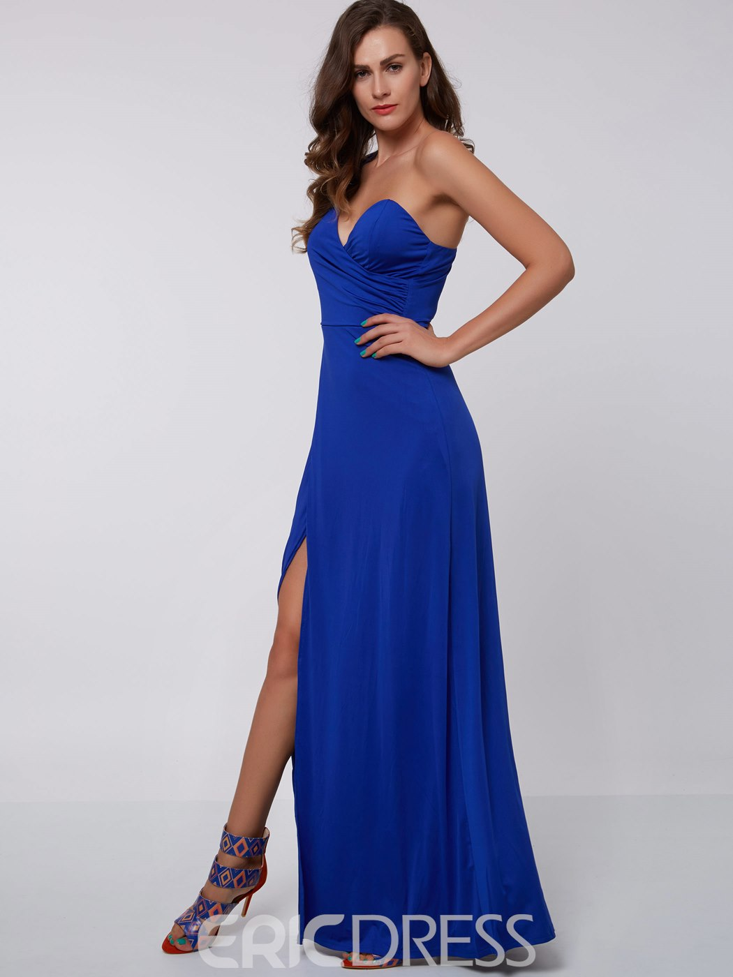 Ericdress A-Line One-Shoulder Pleats Floor-Length Evening Dress