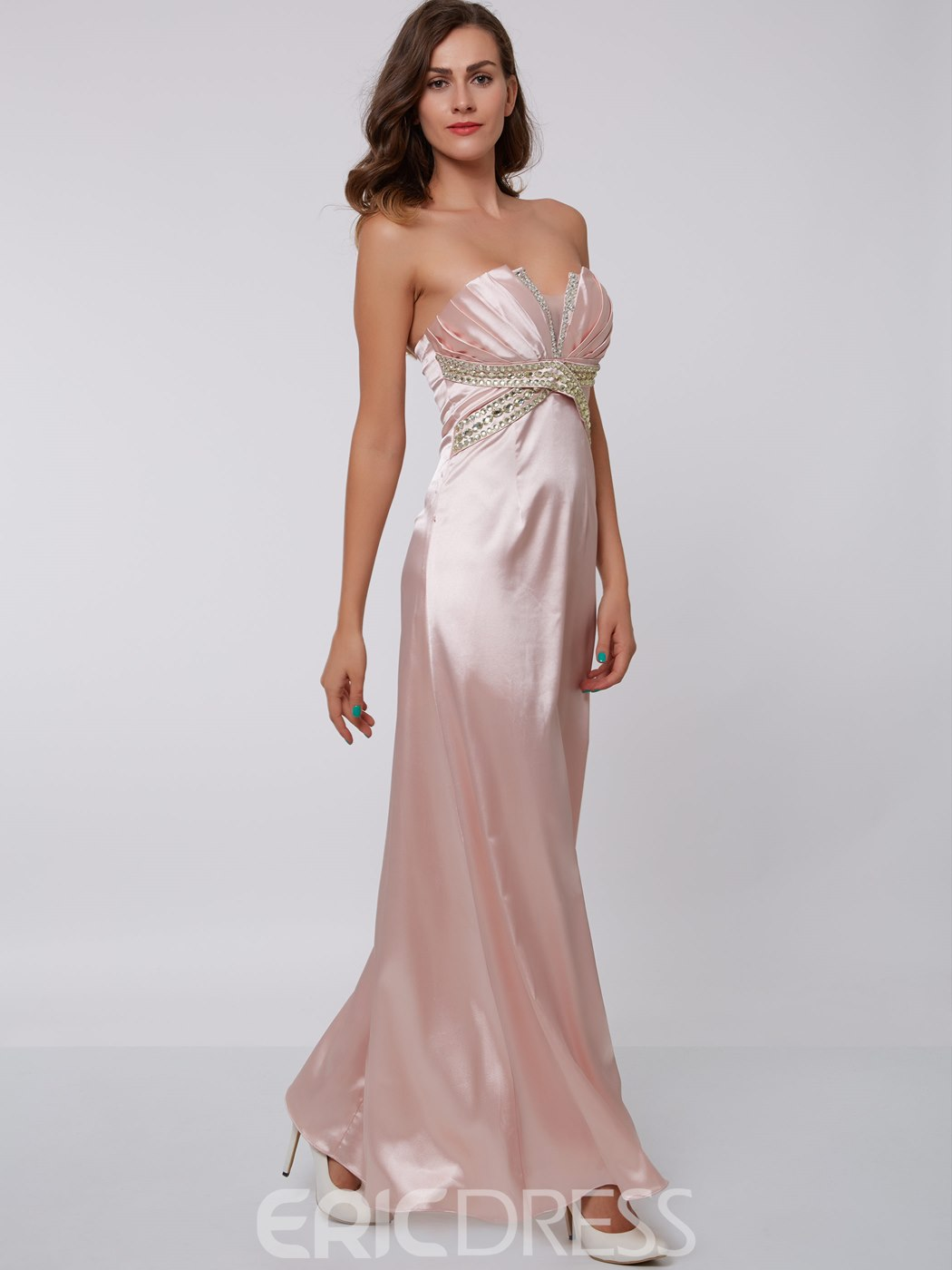 Ericdress Sheath Scalloped-Edge Beading Pleats Floor-Length Evening Dress