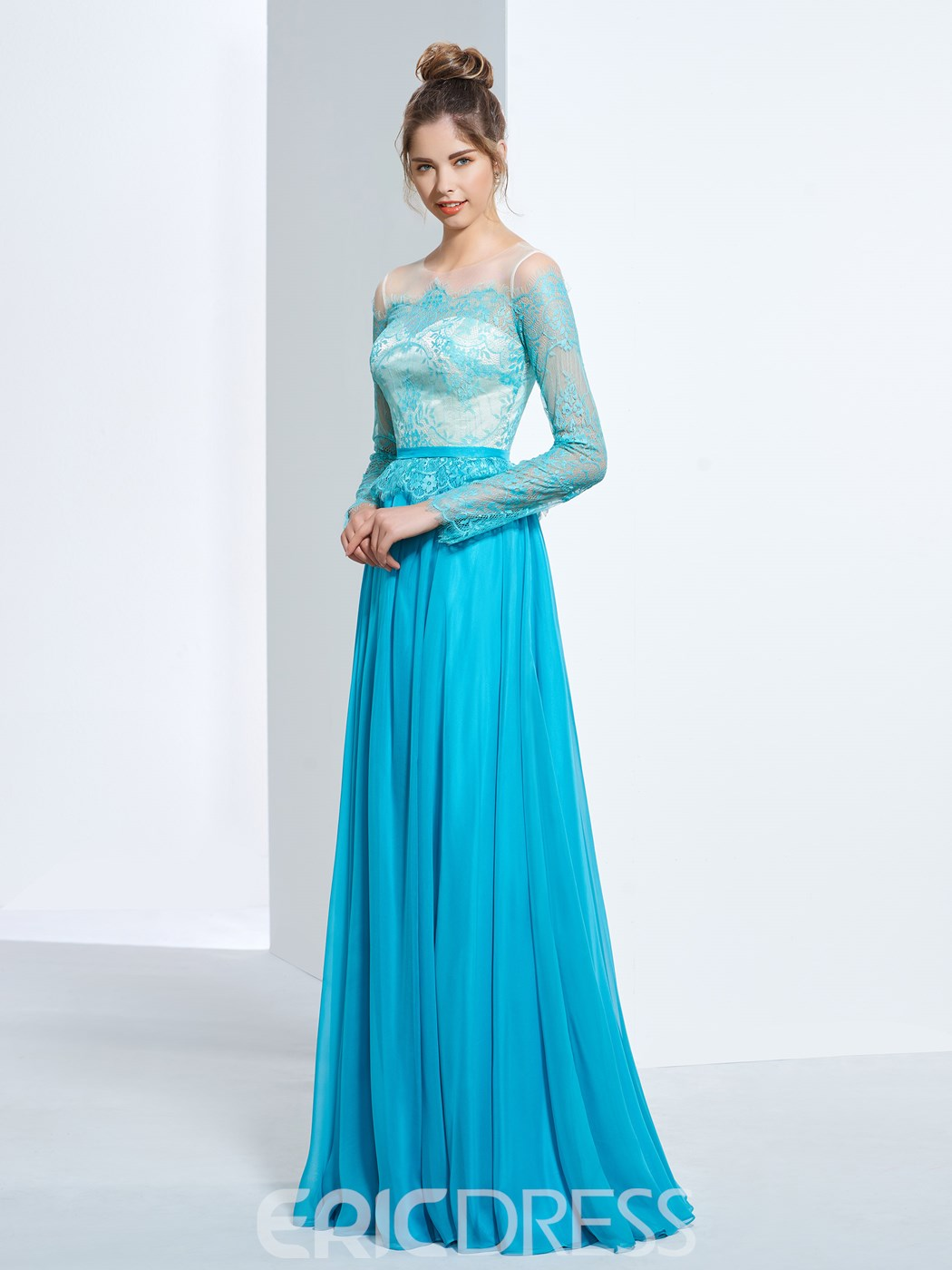 Ericdress Long Sleeves A-Line Off-the-Shoulder Lace Floor-Length Prom Dress